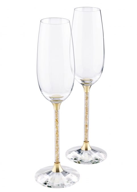 Crystalline Toasting Flutes Golden Shadow (Set Of 2) 1