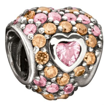 Chamilia Jewelled Heart In Heart- Pastel Pink & Orange Cz