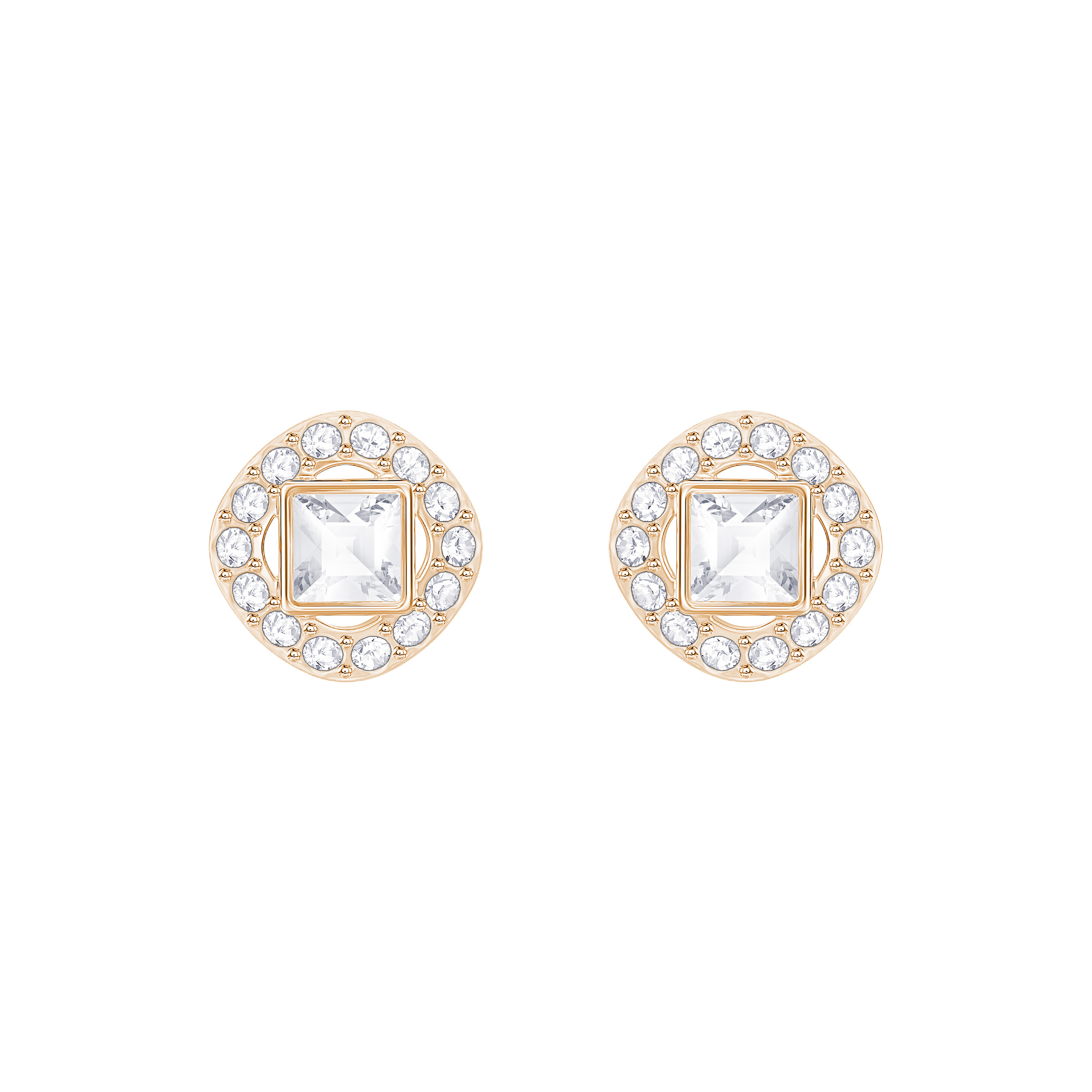 838dd2ec835a0 ANGELIC SQUARE PIERCED EARRINGS, WHITE, ROSE GOLD PLATING